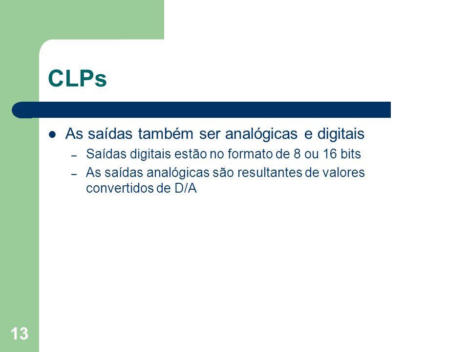 13 CLPs As saídas também ser analógicas e digitais – Saídas digitais estão no formato de 8 ou 16 bits – As saídas analógicas são resultantes de valore