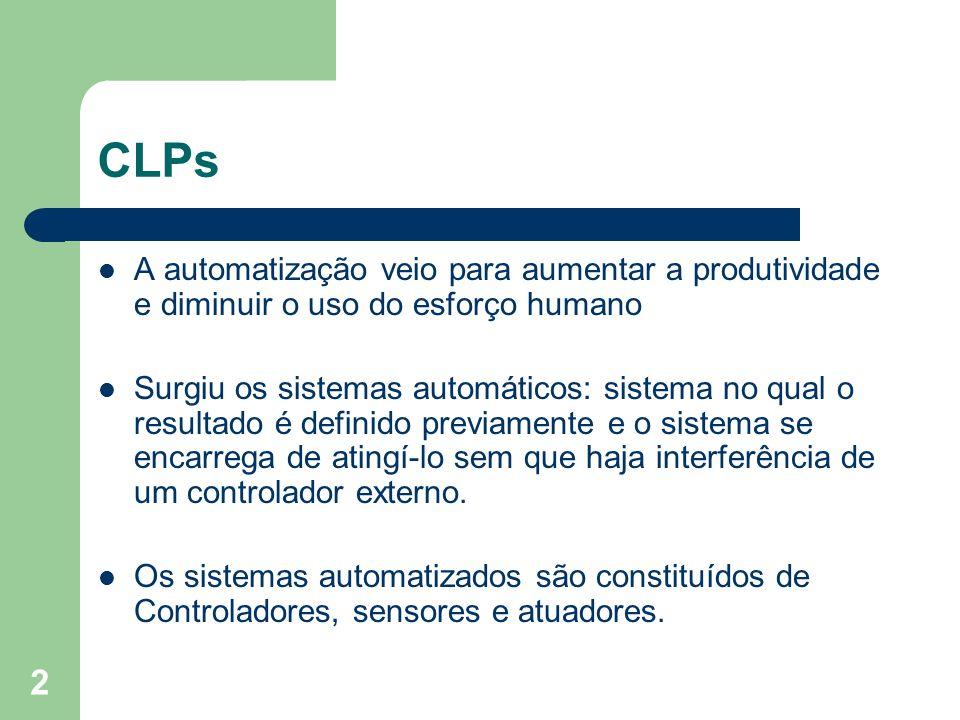 2 CLPs A automatização veio para aumentar a produtividade e diminuir o uso do esforço humano Surgiu os sistemas automáticos: sistema no qual o resulta