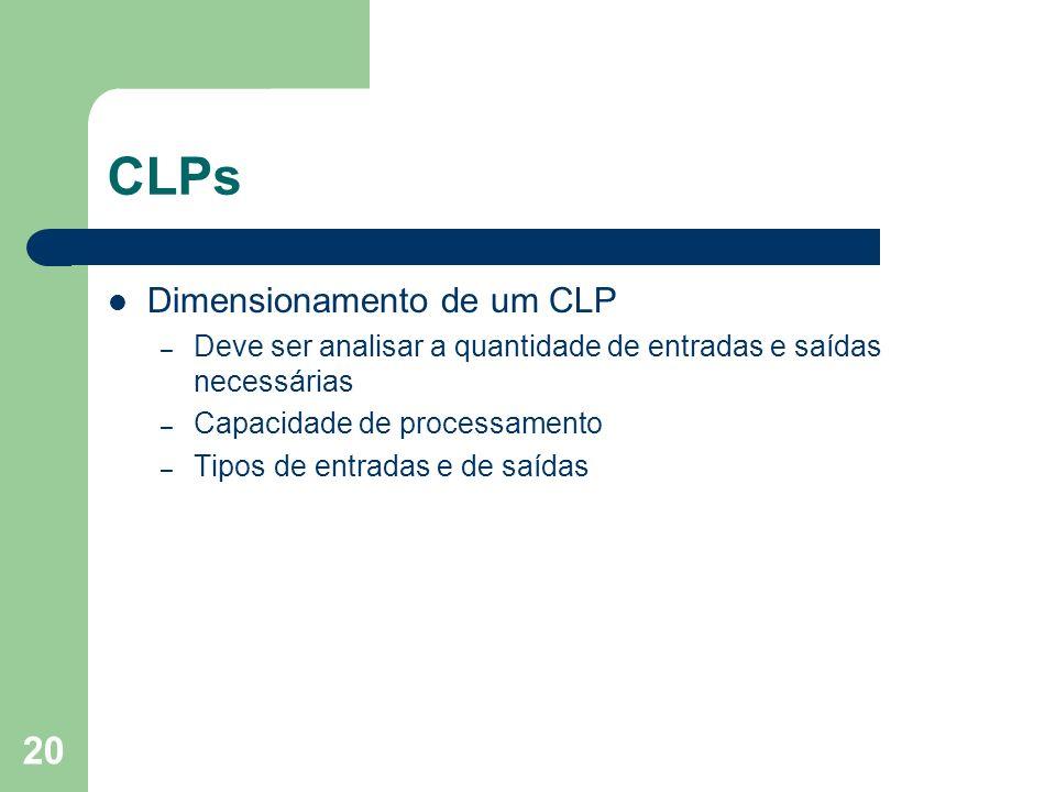 20 CLPs Dimensionamento de um CLP – Deve ser analisar a quantidade de entradas e saídas necessárias – Capacidade de processamento – Tipos de entradas
