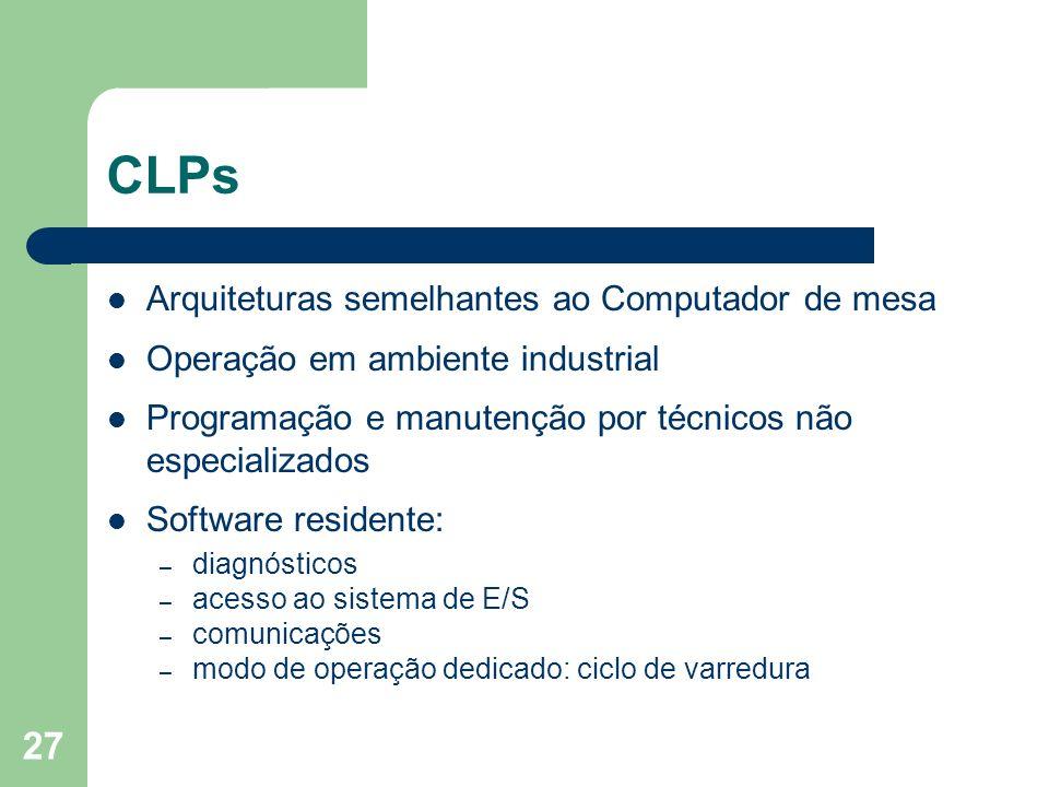 27 CLPs Arquiteturas semelhantes ao Computador de mesa Operação em ambiente industrial Programação e manutenção por técnicos não especializados Softwa