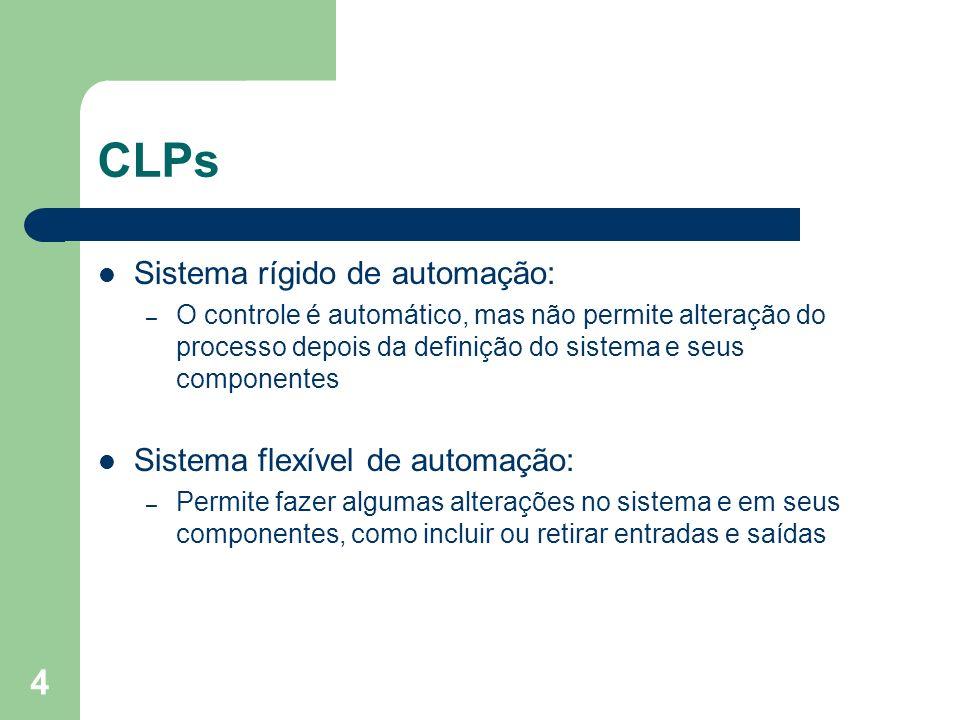 4 CLPs Sistema rígido de automação: – O controle é automático, mas não permite alteração do processo depois da definição do sistema e seus componentes