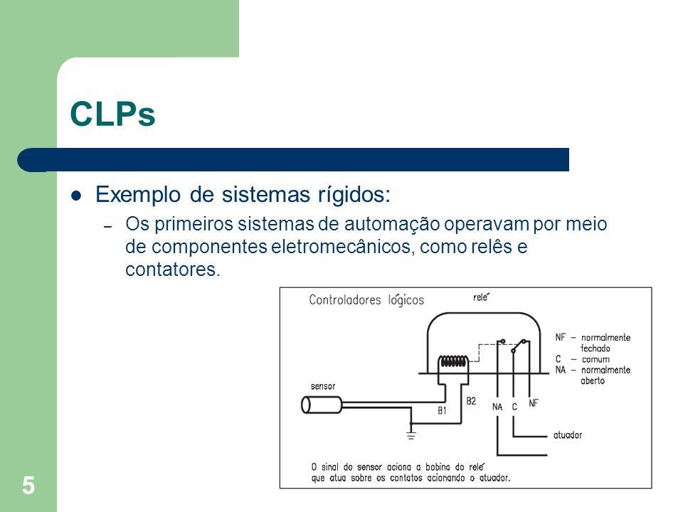 5 CLPs Exemplo de sistemas rígidos: – Os primeiros sistemas de automação operavam por meio de componentes eletromecânicos, como relês e contatores.