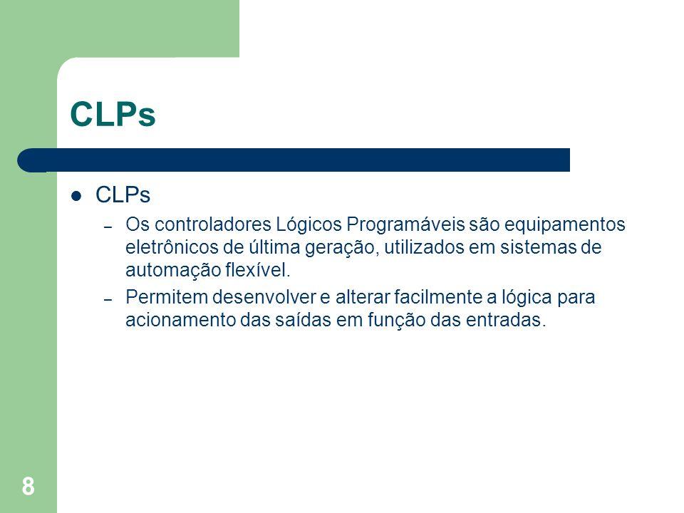 8 CLPs – Os controladores Lógicos Programáveis são equipamentos eletrônicos de última geração, utilizados em sistemas de automação flexível. – Permite