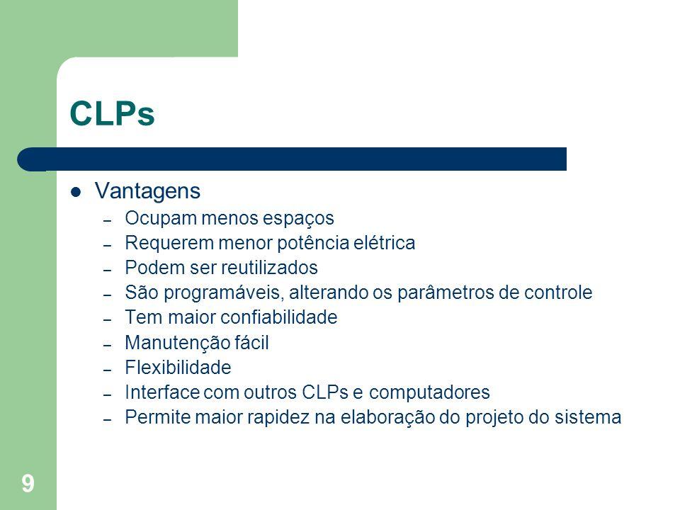 9 CLPs Vantagens – Ocupam menos espaços – Requerem menor potência elétrica – Podem ser reutilizados – São programáveis, alterando os parâmetros de con