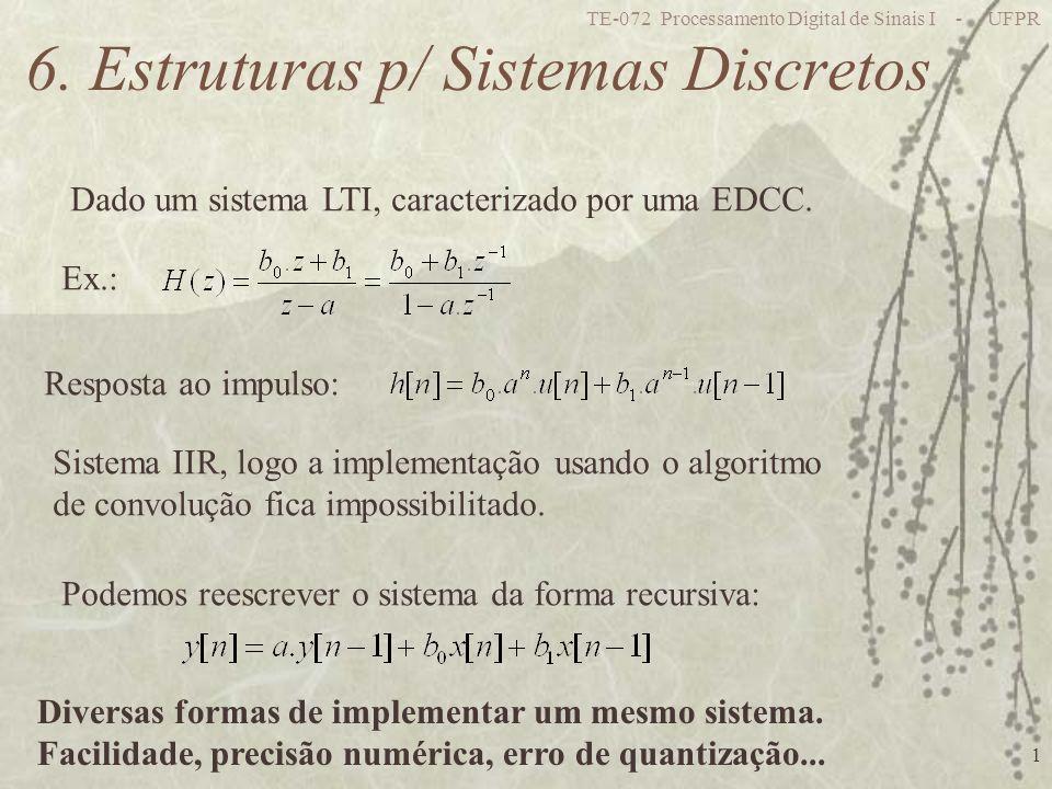 TE-072 Processamento Digital de Sinais I - UFPR 22 Representação de casas decimais em complemento de 2: Menor valor: 100000000 -2 4 =-16 Maior valor: 011111111 2 3 + 2 2 + 2 1 + 2 0 +2 -1 + 2 -2 + 2 -3 =15,875 Q3: Menor valor: 100000000 -2 6 =-64 Maior valor: 011111111 2 5 + 2 4 + 2 3 + 2 2 +2 1 + 2 0 + 2 -1 =63,5 Q1: Ex.: 8 bits Menor valor: 100000000 -2 0 =-1 Maior valor: 011111111 2 -1 + 2 -2 + 2 -3 + 2 -4 +2 -5 + 2 -6 + 2 -7 =0.9921875 Q7: