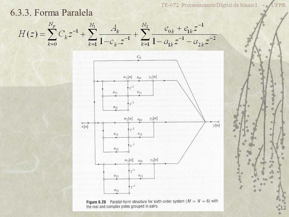 TE-072 Processamento Digital de Sinais I - UFPR 12 6.3.3. Forma Paralela