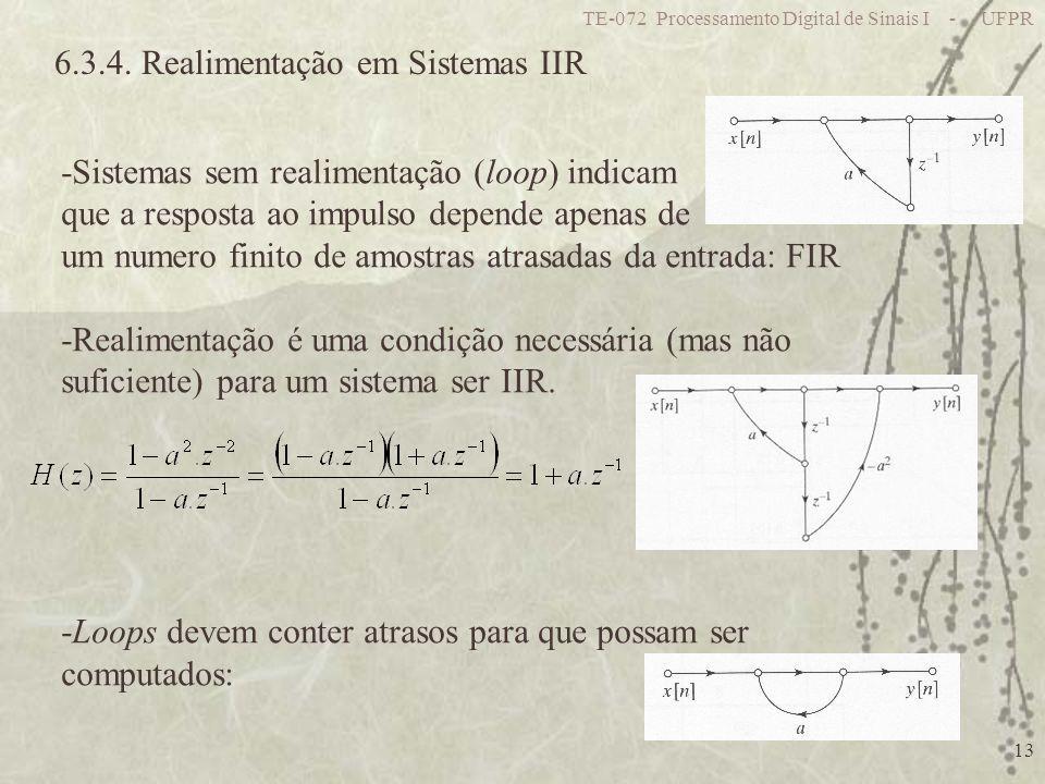 TE-072 Processamento Digital de Sinais I - UFPR 13 6.3.4. Realimentação em Sistemas IIR -Sistemas sem realimentação (loop) indicam que a resposta ao i