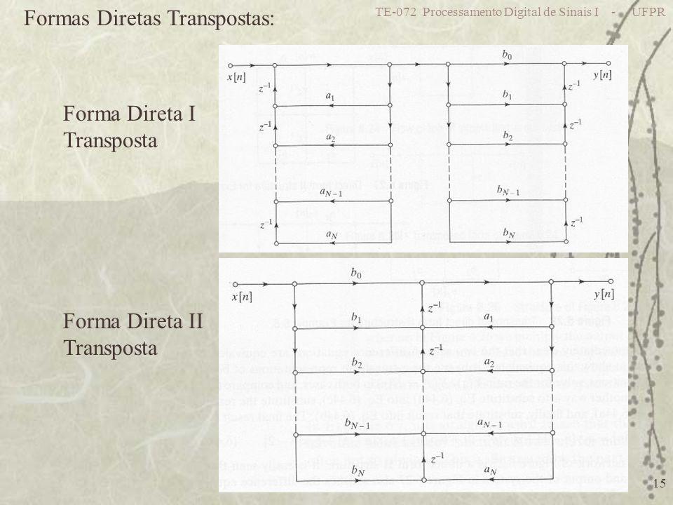 TE-072 Processamento Digital de Sinais I - UFPR 15 Formas Diretas Transpostas: Forma Direta I Transposta Forma Direta II Transposta