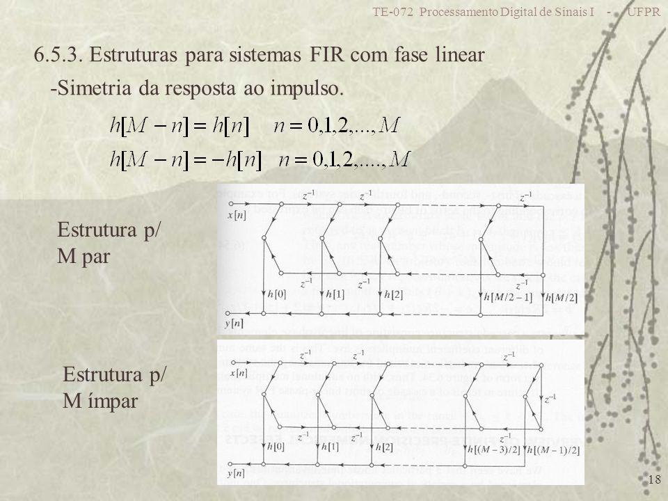 TE-072 Processamento Digital de Sinais I - UFPR 18 6.5.3. Estruturas para sistemas FIR com fase linear -Simetria da resposta ao impulso. Estrutura p/