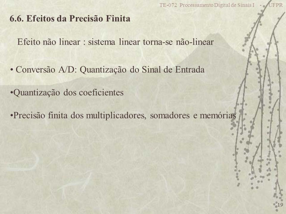 TE-072 Processamento Digital de Sinais I - UFPR 19 6.6. Efeitos da Precisão Finita Efeito não linear : sistema linear torna-se não-linear Conversão A/