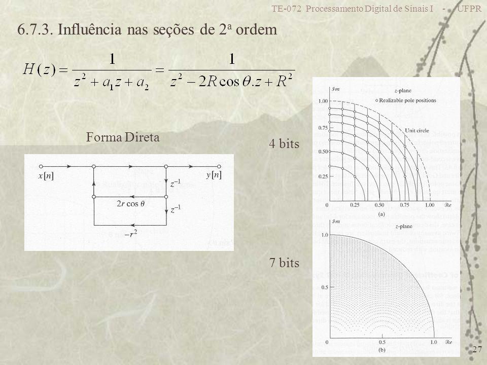 TE-072 Processamento Digital de Sinais I - UFPR 27 6.7.3. Influência nas seções de 2 a ordem 4 bits 7 bits Forma Direta