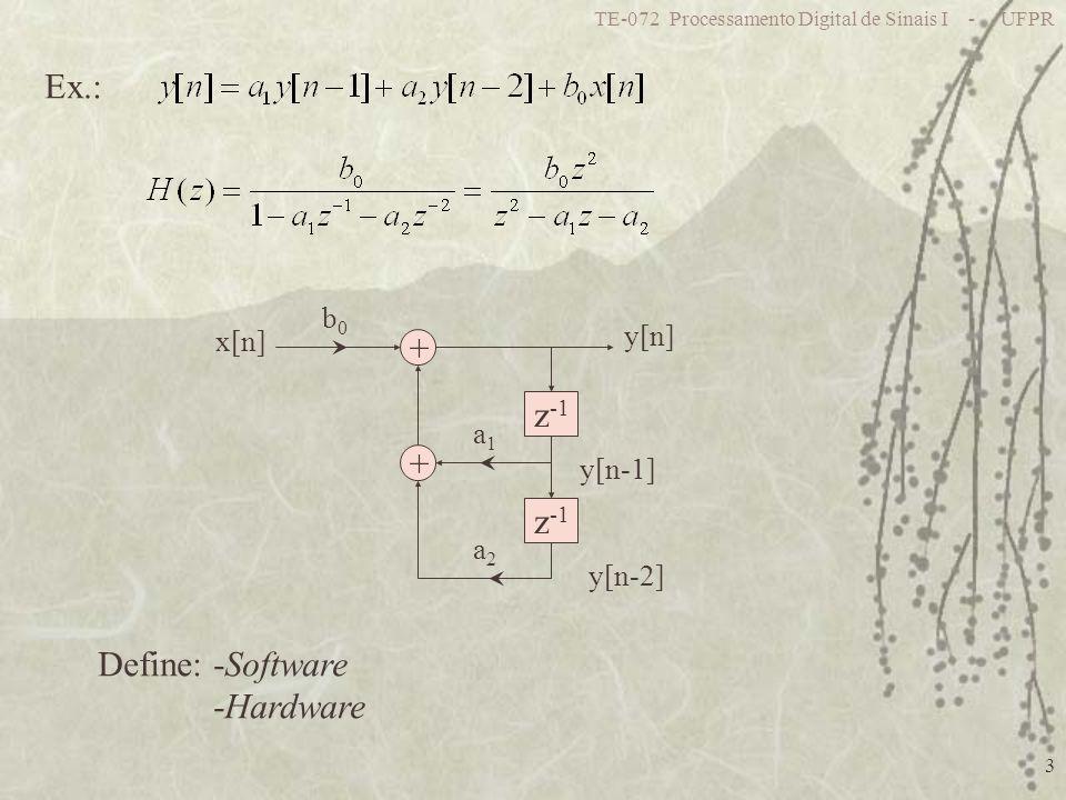 TE-072 Processamento Digital de Sinais I - UFPR 24 Ponto Flutuante c: Característica : fator de escala x B : Mantissa: 0,5 a 1 Representando a mantissa e seu equivalente em ponto-fixo com o mesmo número de bits a representação em ponto flutuante gera maior SNR Representados em ponto fixo Operações mais complexas: Multiplicação: multiplica mantissa e soma características Soma: Necessita de ajuste p/ mesma característica