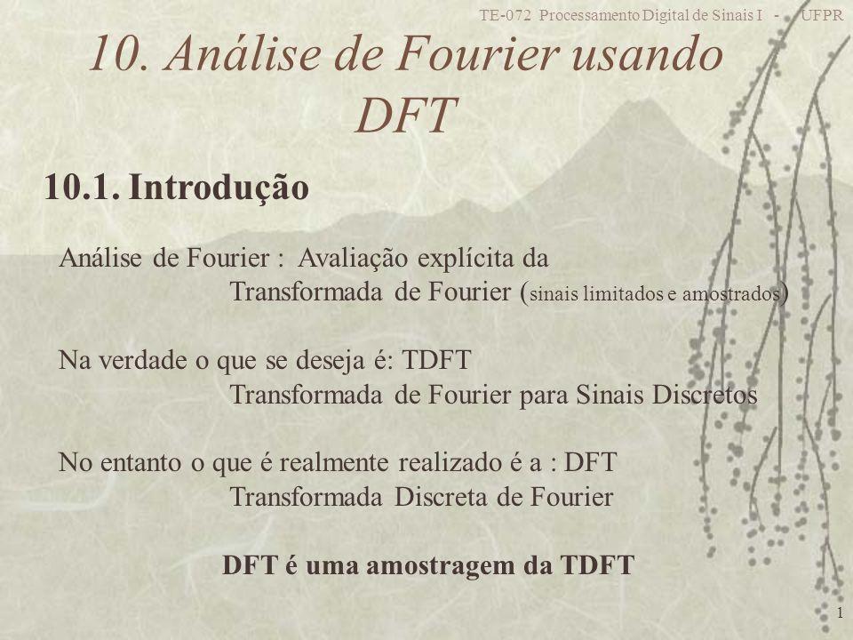 TE-072 Processamento Digital de Sinais I - UFPR 1 10. Análise de Fourier usando DFT 10.1. Introdução Análise de Fourier : Avaliação explícita da Trans