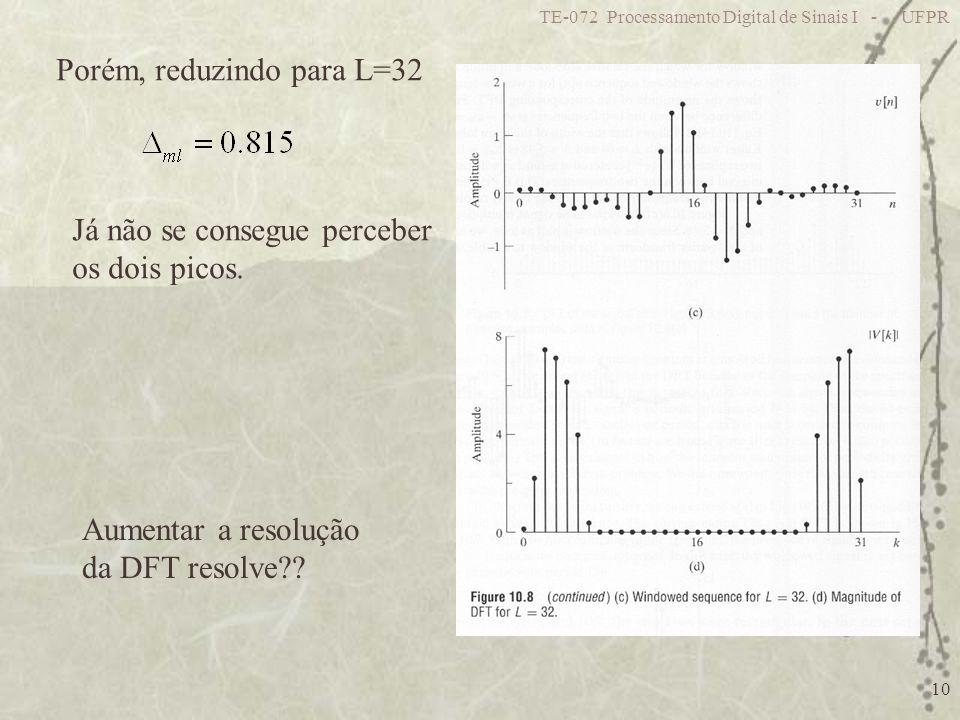 TE-072 Processamento Digital de Sinais I - UFPR 10 Porém, reduzindo para L=32 Já não se consegue perceber os dois picos. Aumentar a resolução da DFT r