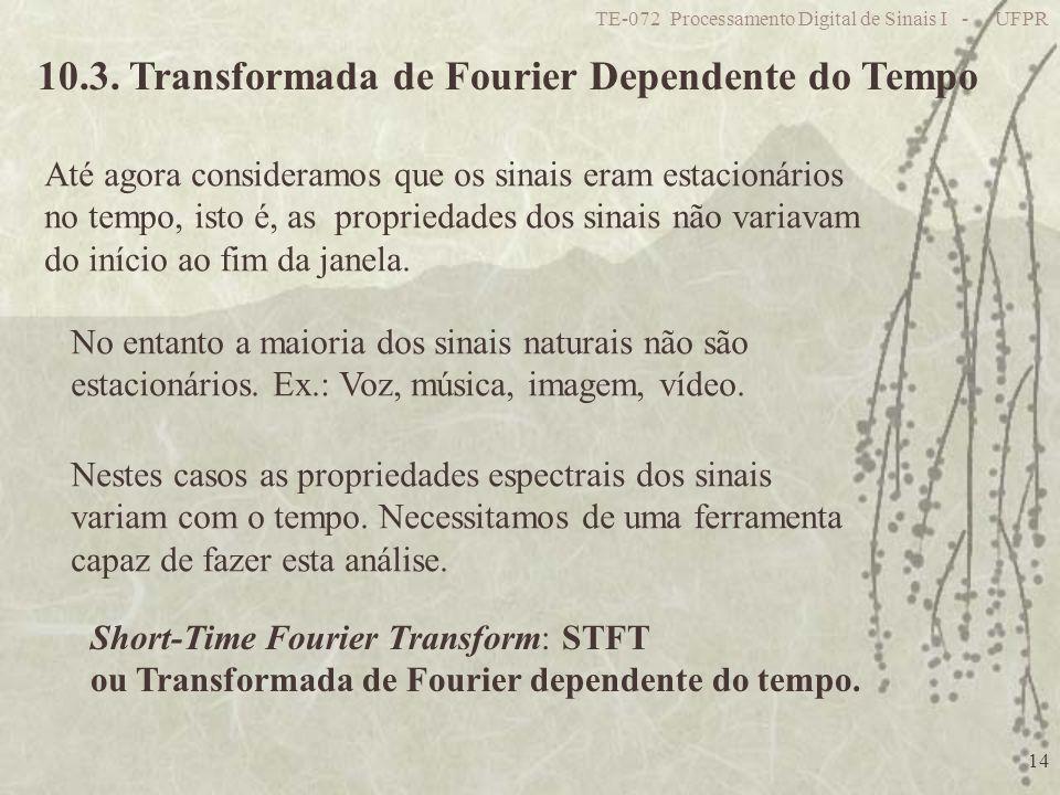TE-072 Processamento Digital de Sinais I - UFPR 14 10.3. Transformada de Fourier Dependente do Tempo Até agora consideramos que os sinais eram estacio