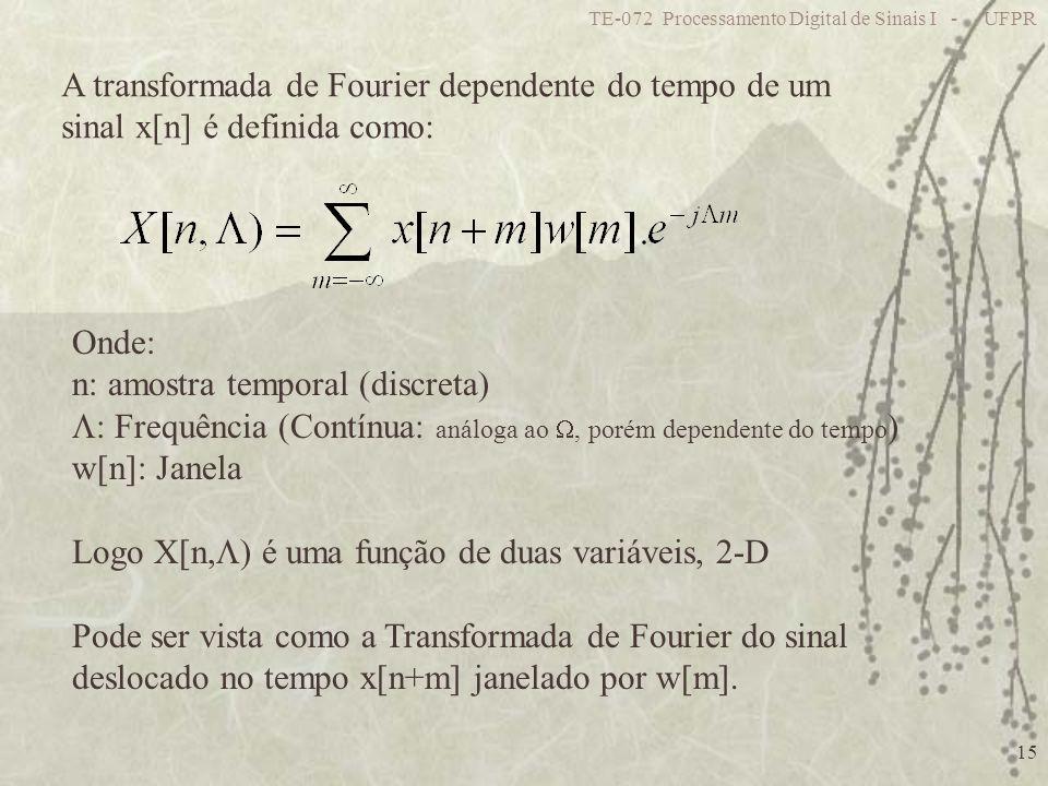 TE-072 Processamento Digital de Sinais I - UFPR 15 A transformada de Fourier dependente do tempo de um sinal x[n] é definida como: Onde: n: amostra te