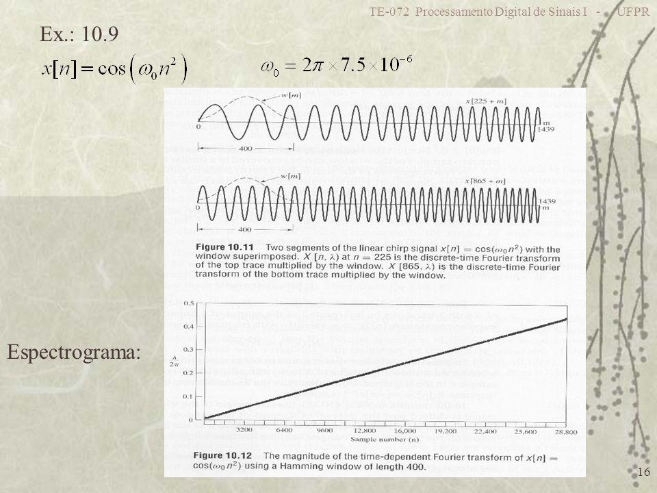 TE-072 Processamento Digital de Sinais I - UFPR 16 Ex.: 10.9 Espectrograma: