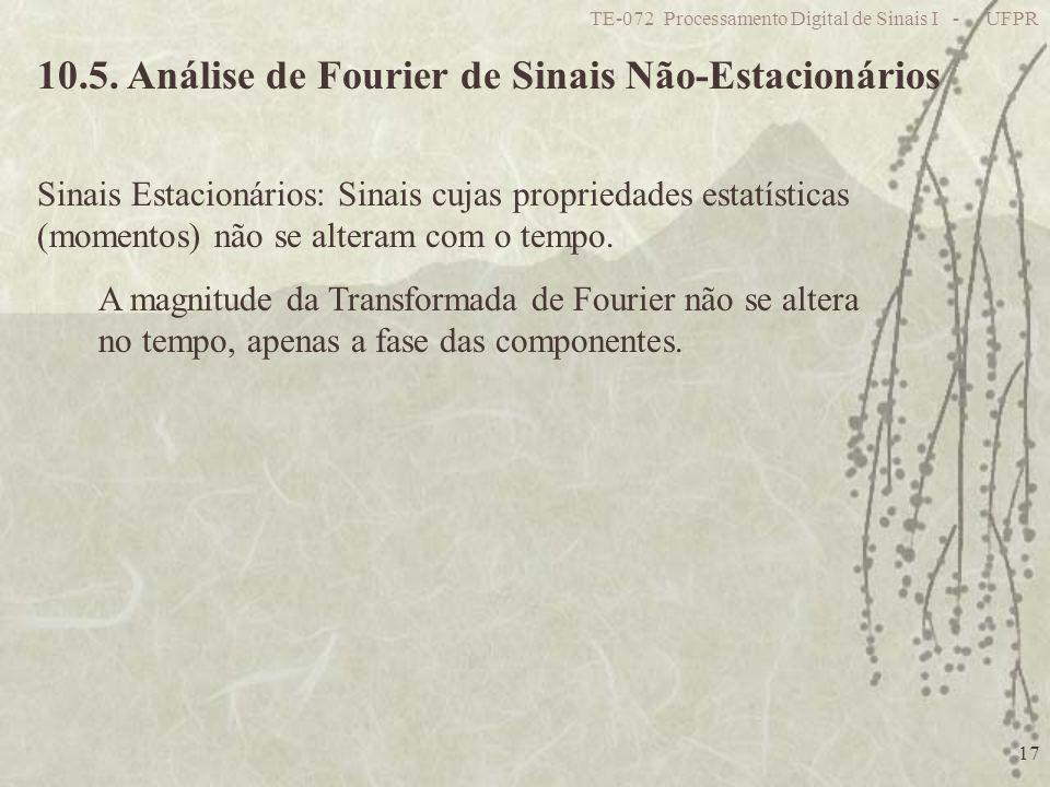 TE-072 Processamento Digital de Sinais I - UFPR 17 10.5. Análise de Fourier de Sinais Não-Estacionários Sinais Estacionários: Sinais cujas propriedade