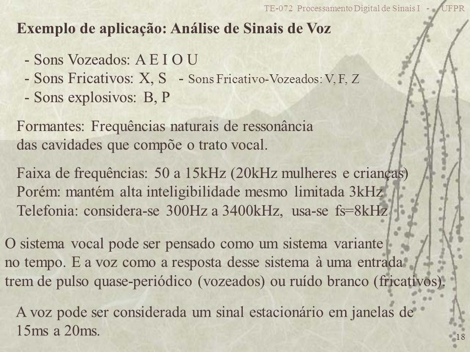 TE-072 Processamento Digital de Sinais I - UFPR 18 Exemplo de aplicação: Análise de Sinais de Voz - Sons Vozeados: A E I O U - Sons Fricativos: X, S -