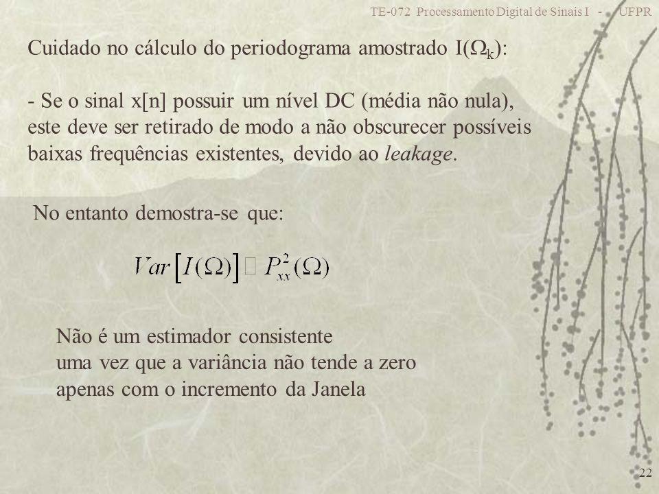 TE-072 Processamento Digital de Sinais I - UFPR 22 Cuidado no cálculo do periodograma amostrado I( k ): - Se o sinal x[n] possuir um nível DC (média n