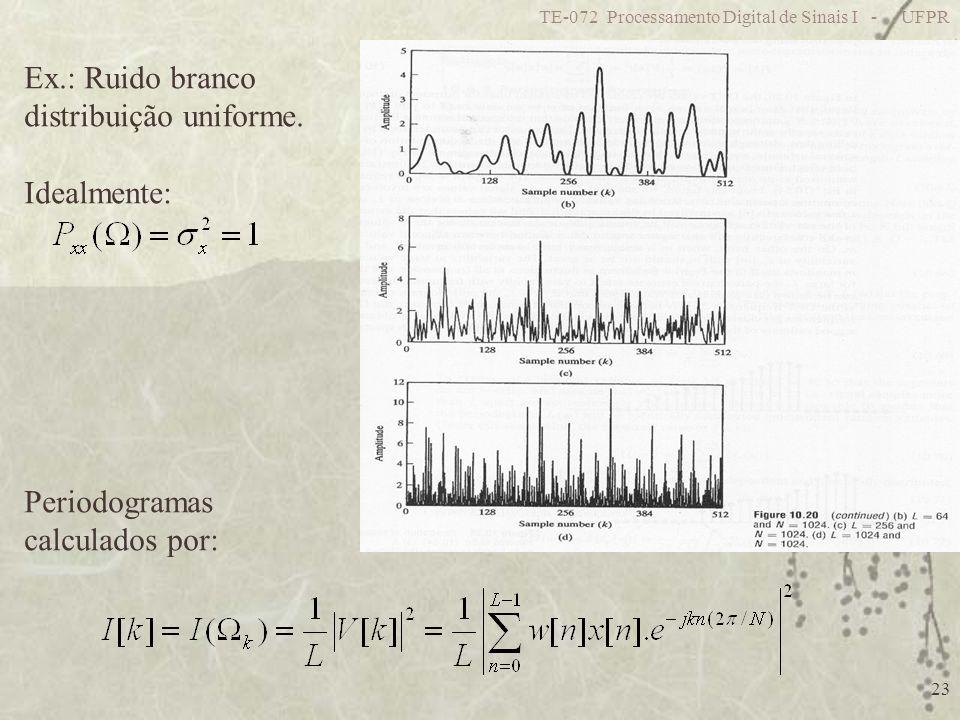 TE-072 Processamento Digital de Sinais I - UFPR 23 Ex.: Ruido branco distribuição uniforme. Idealmente: Periodogramas calculados por: