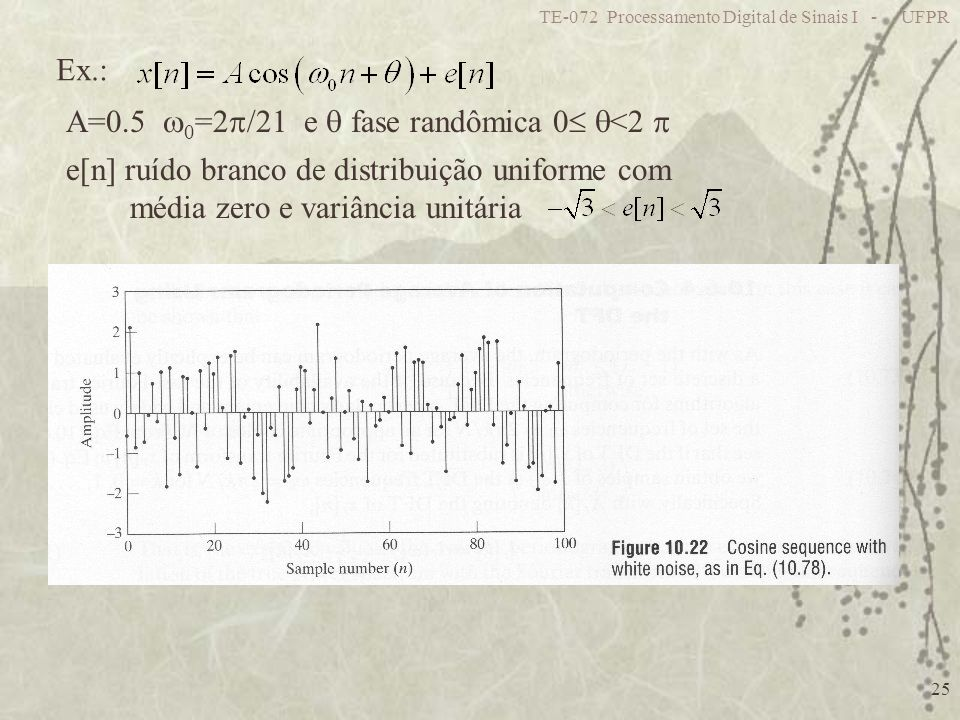 TE-072 Processamento Digital de Sinais I - UFPR 25 Ex.: e[n] ruído branco de distribuição uniforme com média zero e variância unitária A=0.5 0 =2 /21