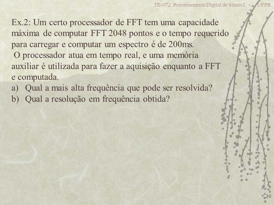 TE-072 Processamento Digital de Sinais I - UFPR 30 Ex.2: Um certo processador de FFT tem uma capacidade máxima de computar FFT 2048 pontos e o tempo r