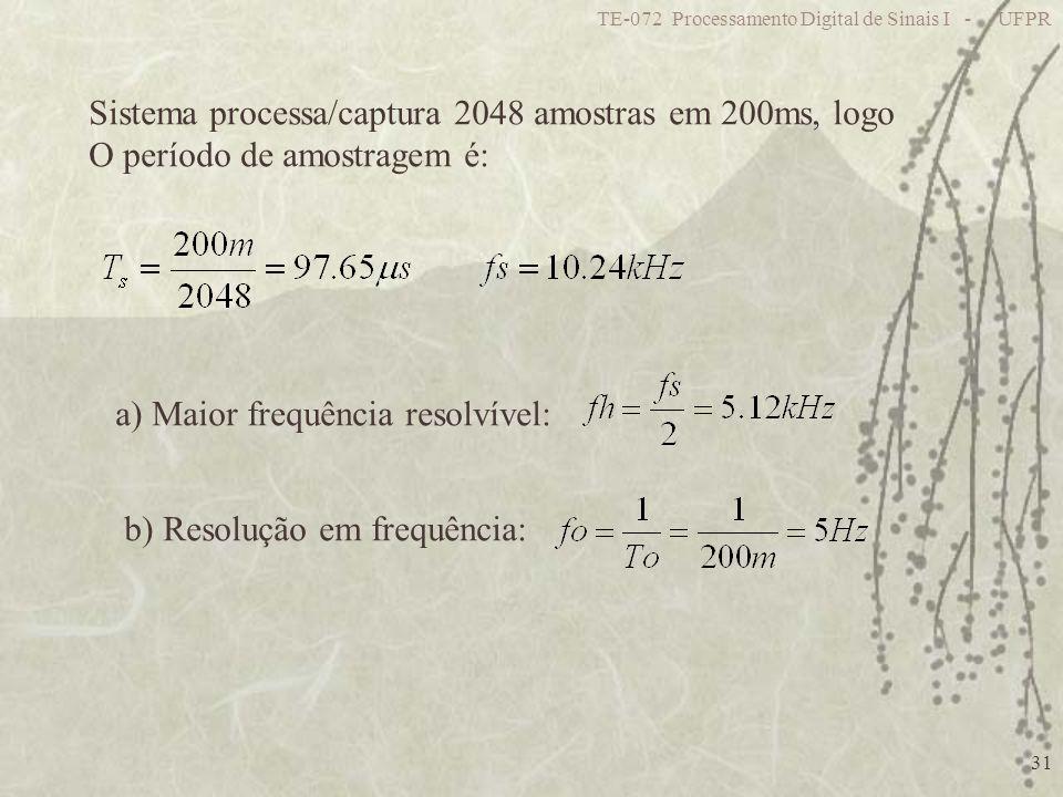 TE-072 Processamento Digital de Sinais I - UFPR 31 Sistema processa/captura 2048 amostras em 200ms, logo O período de amostragem é: a) Maior frequênci
