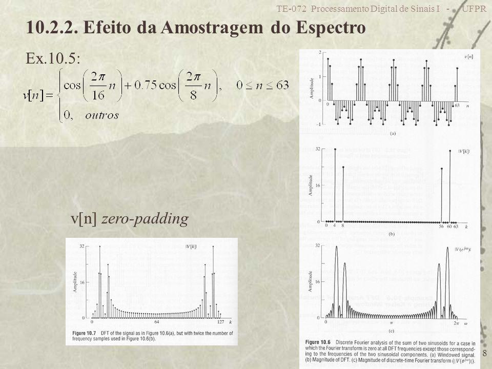 TE-072 Processamento Digital de Sinais I - UFPR 8 10.2.2. Efeito da Amostragem do Espectro Ex.10.5: v[n] zero-padding