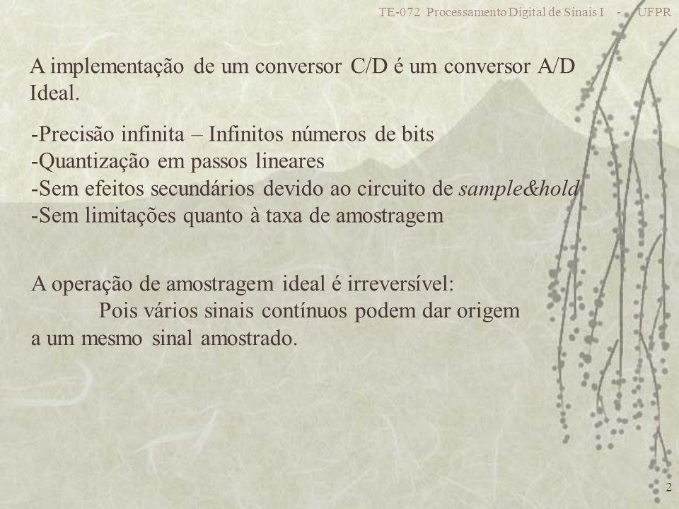 TE-072 Processamento Digital de Sinais I - UFPR 2 A implementação de um conversor C/D é um conversor A/D Ideal. -Precisão infinita – Infinitos números