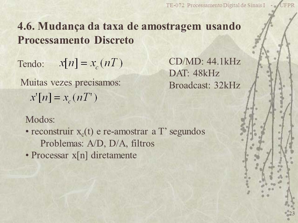 TE-072 Processamento Digital de Sinais I - UFPR 23 4.6. Mudança da taxa de amostragem usando Processamento Discreto Modos: reconstruir x c (t) e re-am