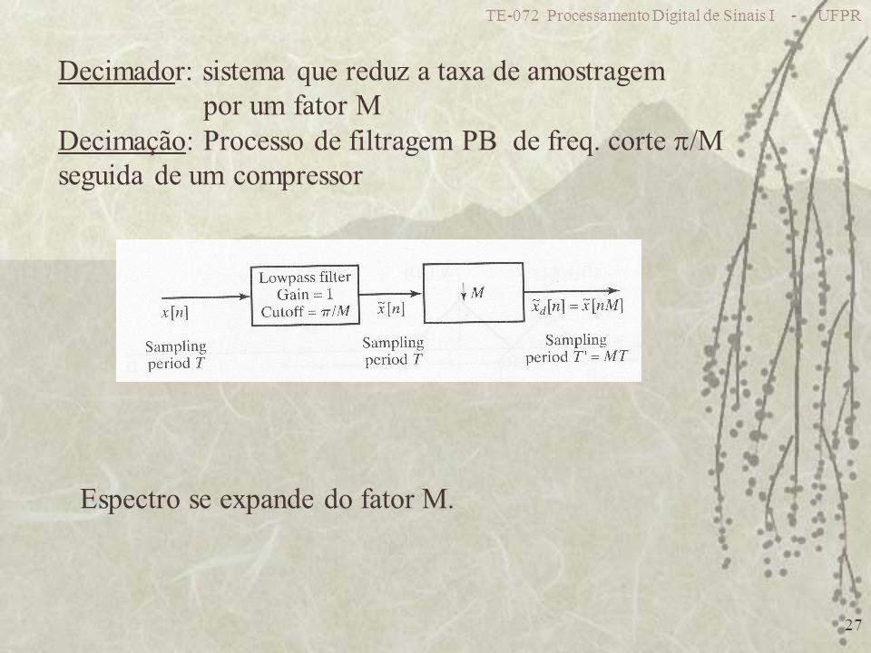 TE-072 Processamento Digital de Sinais I - UFPR 27 Decimador: sistema que reduz a taxa de amostragem por um fator M Decimação: Processo de filtragem P