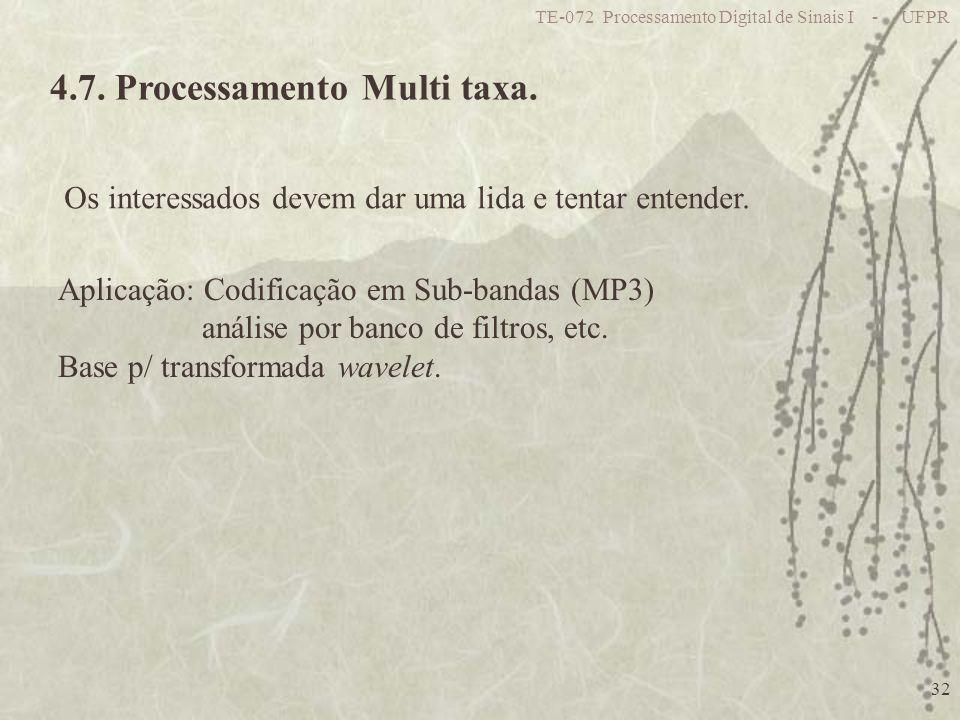 TE-072 Processamento Digital de Sinais I - UFPR 32 4.7. Processamento Multi taxa. Os interessados devem dar uma lida e tentar entender. Aplicação: Cod