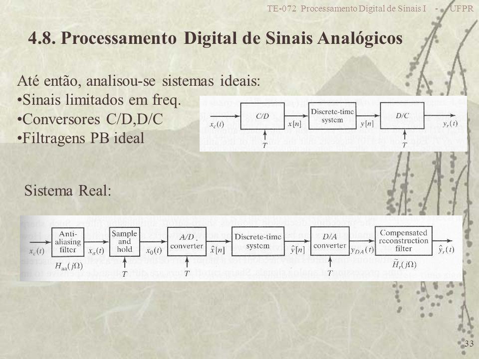 TE-072 Processamento Digital de Sinais I - UFPR 33 4.8. Processamento Digital de Sinais Analógicos Até então, analisou-se sistemas ideais: Sinais limi
