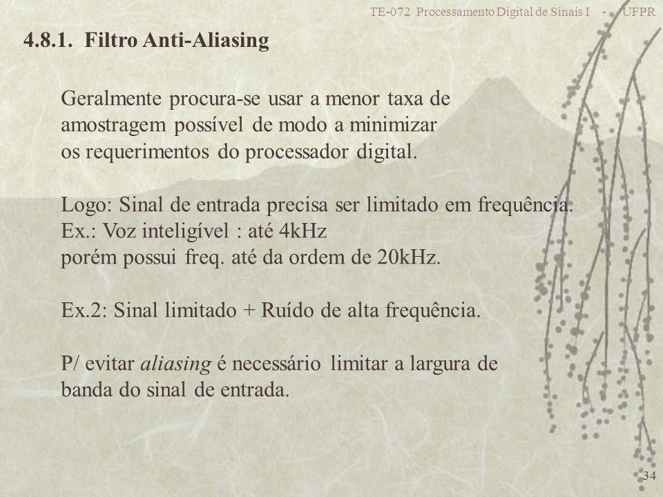 TE-072 Processamento Digital de Sinais I - UFPR 34 4.8.1. Filtro Anti-Aliasing Geralmente procura-se usar a menor taxa de amostragem possível de modo