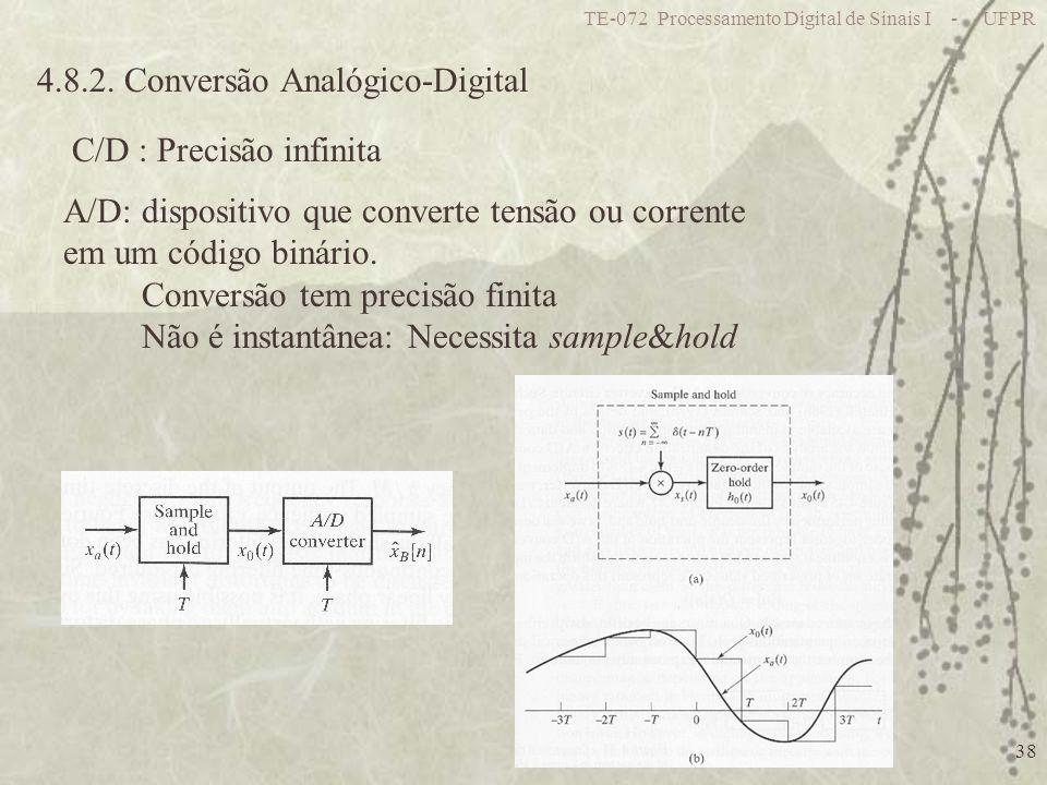 TE-072 Processamento Digital de Sinais I - UFPR 38 4.8.2. Conversão Analógico-Digital C/D : Precisão infinita A/D: dispositivo que converte tensão ou
