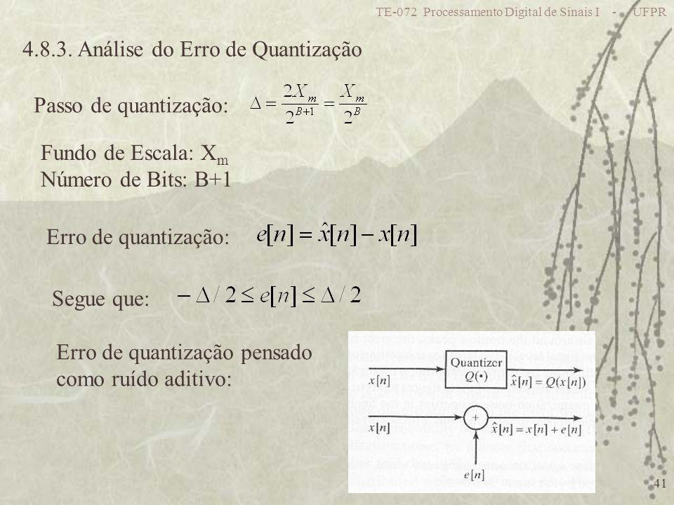 TE-072 Processamento Digital de Sinais I - UFPR 41 4.8.3. Análise do Erro de Quantização Passo de quantização: Fundo de Escala: X m Número de Bits: B+