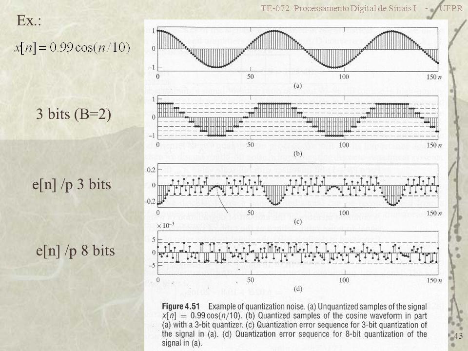 TE-072 Processamento Digital de Sinais I - UFPR 43 Ex.: 3 bits (B=2) e[n] /p 3 bits e[n] /p 8 bits