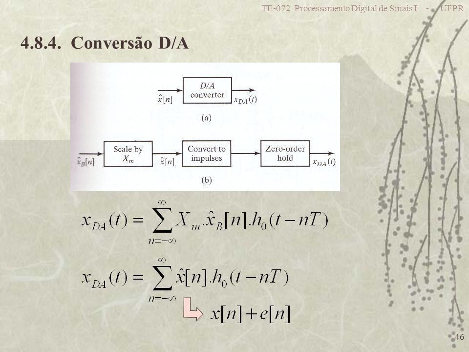 TE-072 Processamento Digital de Sinais I - UFPR 46 4.8.4. Conversão D/A