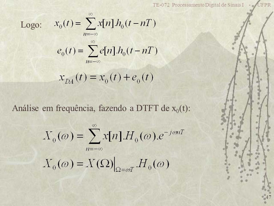 TE-072 Processamento Digital de Sinais I - UFPR 47 Análise em frequência, fazendo a DTFT de x 0 (t): Logo: