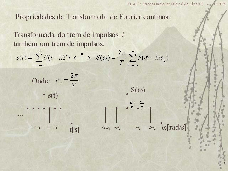 TE-072 Processamento Digital de Sinais I - UFPR 5 Propriedades da Transformada de Fourier contínua: Transformada do trem de impulsos é também um trem