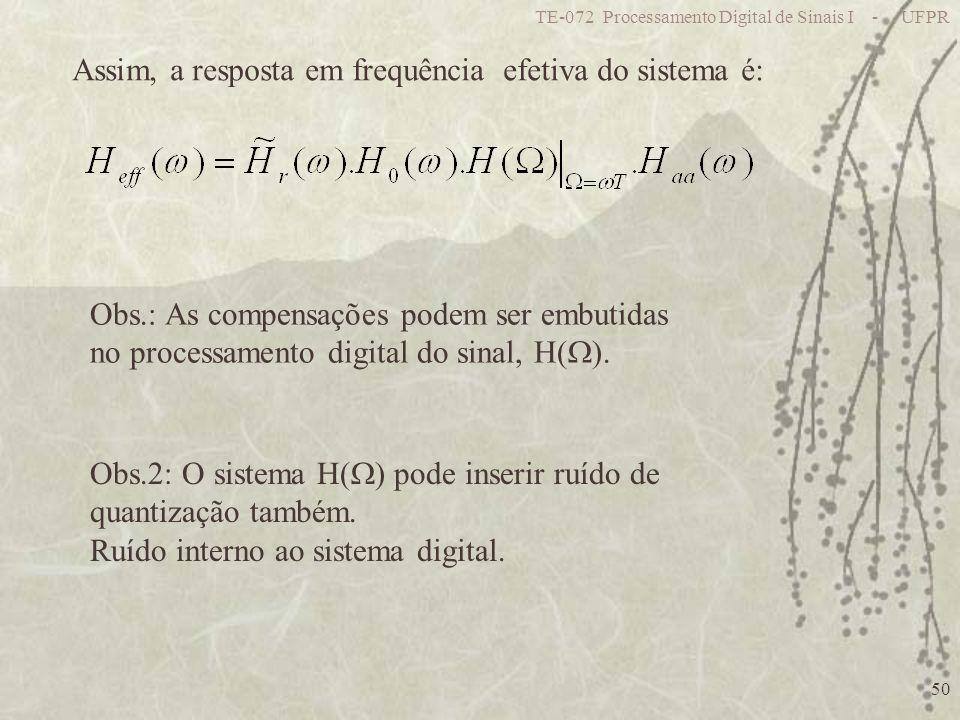 TE-072 Processamento Digital de Sinais I - UFPR 50 Assim, a resposta em frequência efetiva do sistema é: Obs.2: O sistema H( ) pode inserir ruído de q