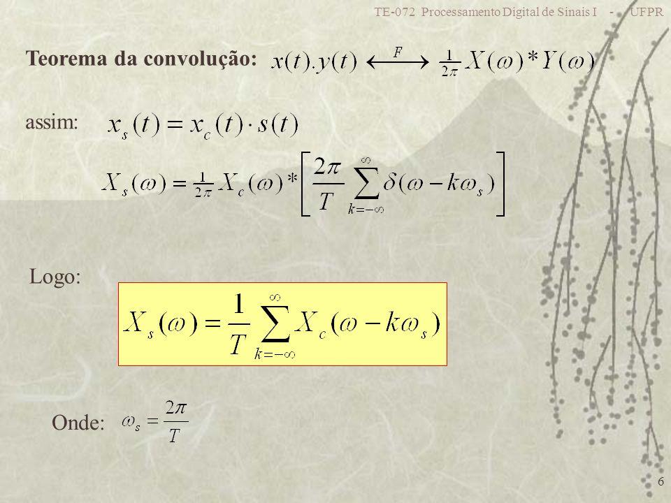 TE-072 Processamento Digital de Sinais I - UFPR 6 Teorema da convolução: assim: Logo: Onde: