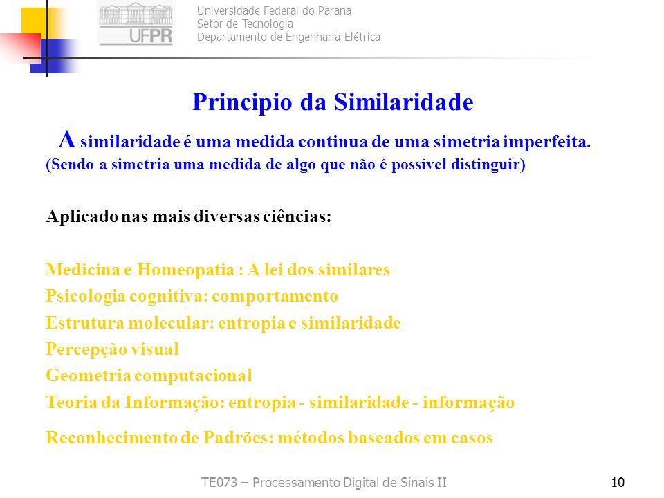 Universidade Federal do Paraná Setor de Tecnologia Departamento de Engenharia Elétrica TE073 – Processamento Digital de Sinais II10 Principio da Simil