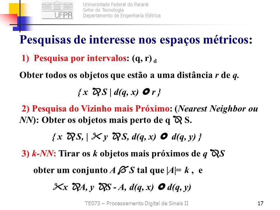 Universidade Federal do Paraná Setor de Tecnologia Departamento de Engenharia Elétrica TE073 – Processamento Digital de Sinais II17 Pesquisas de inter