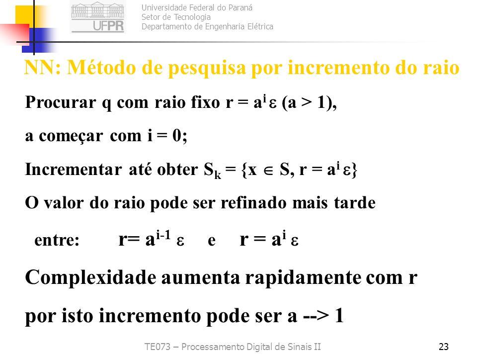 Universidade Federal do Paraná Setor de Tecnologia Departamento de Engenharia Elétrica TE073 – Processamento Digital de Sinais II23 NN: Método de pesq
