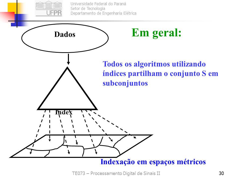 Universidade Federal do Paraná Setor de Tecnologia Departamento de Engenharia Elétrica TE073 – Processamento Digital de Sinais II30 Dados Index Indexa