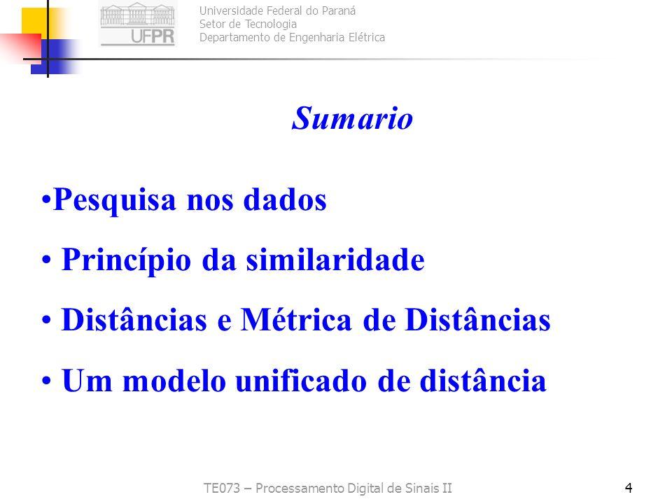 Universidade Federal do Paraná Setor de Tecnologia Departamento de Engenharia Elétrica TE073 – Processamento Digital de Sinais II5 Pesquisa nos dados Pesquisar dados é fundamental na Ciência da Computação Tradicionalmente BD organizadas em dados estruturados Evolução Tec.