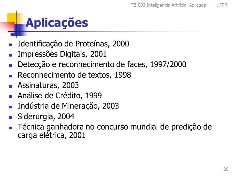 TE-803 Inteligencia Artificial Aplicada - UFPR 26 Aplicações Identificação de Proteínas, 2000 Impressões Digitais, 2001 Detecção e reconhecimento de faces, 1997/2000 Reconhecimento de textos, 1998 Assinaturas, 2003 Análise de Crédito, 1999 Indústria de Mineração, 2003 Siderurgia, 2004 Técnica ganhadora no concurso mundial de predição de carga elétrica, 2001
