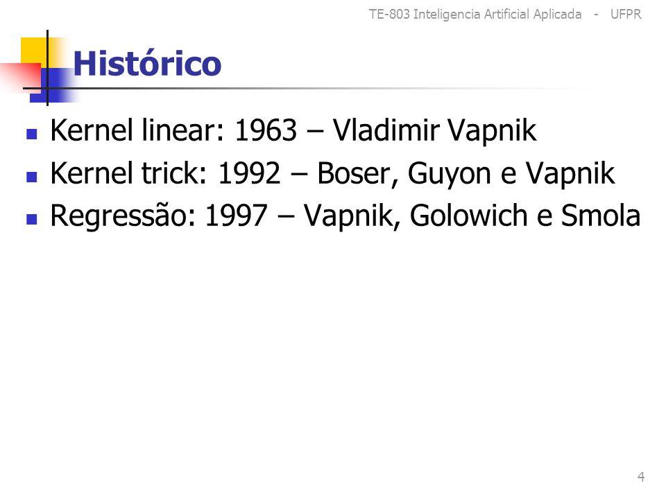 TE-803 Inteligencia Artificial Aplicada - UFPR 4 Histórico Kernel linear: 1963 – Vladimir Vapnik Kernel trick: 1992 – Boser, Guyon e Vapnik Regressão: 1997 – Vapnik, Golowich e Smola